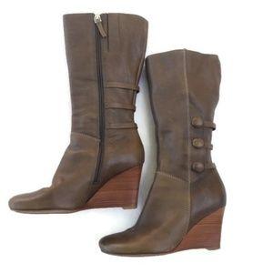 Ecco Boots Lulea Wedge Full Zip Mid Calf 38